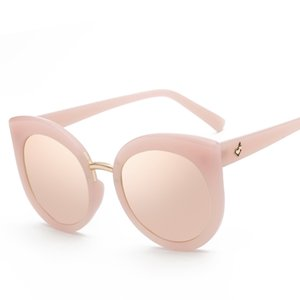 Wholesale European Style Woman Big Oversized Cool Frame Mirror Sun Glasses Woman Pink Cat Eye Sunglasses Brand