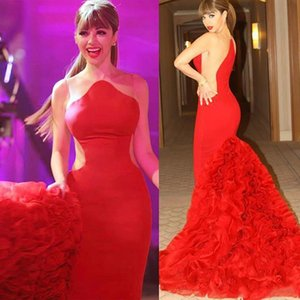 New Robe de soiree Evening Dresses Sexy Formal Celebrity Red Carpet Dresses HOT Myriam Fares Dresses Scalloped Ruffles Mermaid Prom Party on Sale