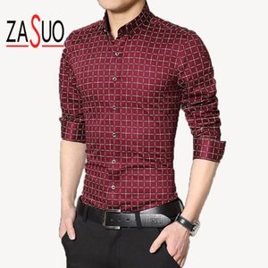 Wholesale Hot sale Men Fashion Business Casual Plaid Shirt High Quality British Long SleeveDress Shirts Cotton Slim Shirts