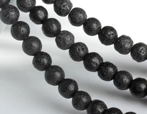Wholesale Natural Black Volcanic Lava Stone Round Loose Beads Gemstone Beads for Jewelry Making DIY Components DHL
