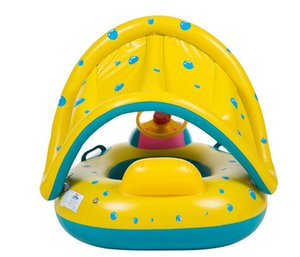 Wholesale inflatable baby swim float boat resale online - Summer with a trumpet baby swimming boat baby swimming float ring inflatable children swimming seat water yacht mattress