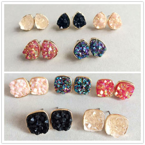 Wholesale Fashion Drusy Druzy Earrings Gold Plated Popular Square Water Drop Gemstone Stone Stud Earrings for Women Lady Jewelry