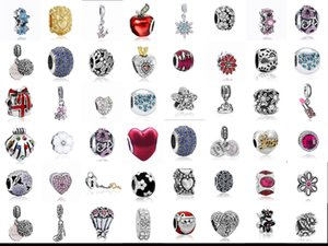 Wholesale 50Pcs   Lot Mixed Pendant Charm Sterling Silver European Charms Bead Fit Pandora Bracelets Snake Chain Fashion DIY Jewelry on Sale