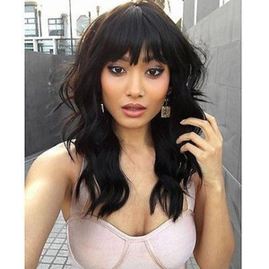Natural wave brazilian virgin hair lace front wigs with bangs short bob wavy human hair full lace human hair wigs for black women