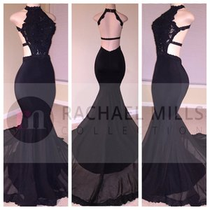 Sexy Black Mermaid Prom Dresses 2019 Long Lace Sequins Halter Beaded Backless Side Slit Evening Dresses Formal Evening Party Gowns