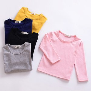 Wholesale Girls Long Sleeve T Shirts Cotton Casual Baby Clothes Round Neck Toddler T Shirts Plain Color