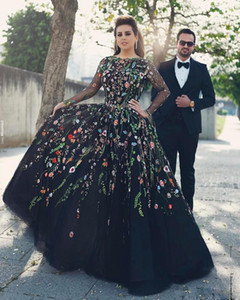 Wholesale Black Embroidery Evening Dress Long Sleeve Prom Dresses 2018 Vestido De Festa Plus Size V Back Party Dress Ball Gown Celebrity Pageant Gowns