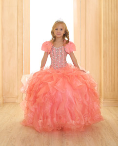 ingrosso giacche gonfie-Hot Coral Girls Pageant Dresses Sparkling Crystal Beaded Puffy Ruffles Floor Length Ball Gown Flower Girl Abiti con la maglia SY110