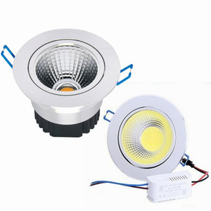 Wholesale Newest Silver Dimmable Led Downlights 9W 12W 15W COB Led Down Light Recessed Ceiling Light 120 Angle AC 110-240V + CE ROHS UL