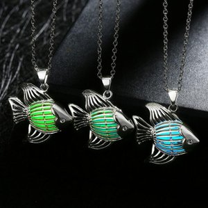 Free shipping Creative jewelry striped fish pendant hollow night light necklace WFN158 (with chain) mix order 20 pieces a lot