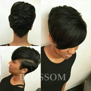 Wholesale short bobs haircuts resale online - New Haircuts Full Lace Human Short Hair Wigs For Black Women Brazilian Virgin Natural Hair None Lace Front Human Bob Hair Wigs