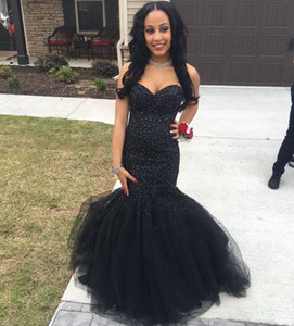2018 Black Girl Africa Mermaid Prom Dresses Long Major Beading Cheap Formal Dress Evening Wear Little Black Plus Size Prom Gowns Prom Dress on Sale