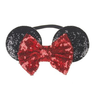 Wholesale Baby Headbands Sequin Mouse Ear Headband Big Bow Children Kids Hair Accessories Baby Girls Nylon Hairbands birthday supplies A08
