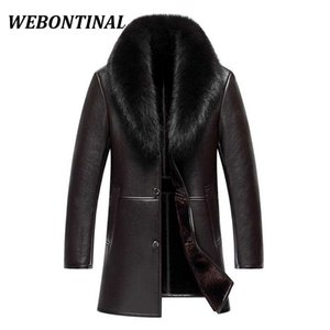 Wholesale WEBONTINAL Winter Leather Jacket Men Coat Male Top Quality Real Fox Fur collar Warm Thick Faux Windbreaker Men Thick Velvet