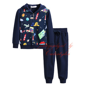 Wholesale Newest Pettigirl Kids Designer Clothes kids clothes Navy Casual Boys Suit Cartoon Printing Zipper Boy Clothes With Hood B DMCS908