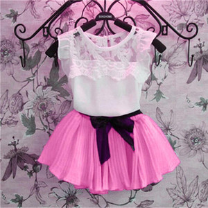 Wholesale childrens clothing resale online - Short Sleeve Chiffon Kids Clothes Pullover Solid Color Childrens Clothing for Girls New Fashion Girls Skirt Set