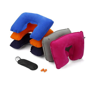 Wholesale 3 in1 Travel U shaped Pillow Flocking Inflatable Neck Air Cushion Pillow Eyeshade with Ear Plug Advertising Gifts ZA3927