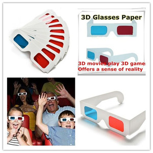 Wholesale New D Paper Glasses Red Blue Cyan Paper Card D Anaglyph Glasses Offers a Sense of Reality Movie DVD for women men