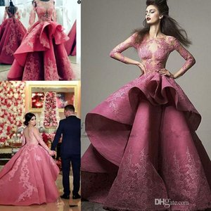 Wholesale Saiid Kobeisy Ruffles Peplum Prom Dresses with Long Sleeve 2019 Modest Fashion Lace Applique Dubai Arabic Organza Occasion Evening Gowns