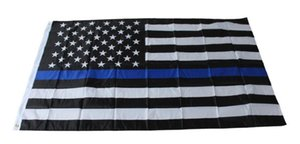 Wholesale thin blue line resale online - 4 Types cm BlueLine USA Police Flags x5 Foot Thin Blue Line USA Flag Black White And Blue American Flag With Brass Grommets