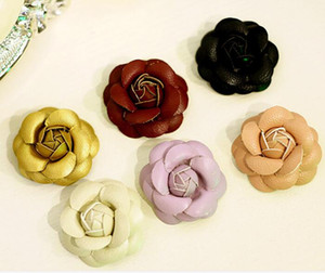 9 colors hot DIY jewelry 240pcs lot leather flowers Camellia Shoes and bags beauty accessories DIY material package fit Mobile phone shell