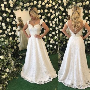 Wholesale Ivory Lace Prom Dresses Cap Sleeves Appliques Beaded Sheer Illusion Back Modest Formal Party Dress Evening Gowns