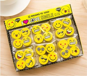 Wholesale Kawaii Stationery Emoji Smiling Faces Rubber Erasers Office Shool Supplies Desk Accessories Korean Stationery Gifts For Students