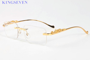 Wholesale brand designer sunglasses for women Vintage Men buffalo horn Glasses gold silver metal feet legs rimless sunglasses men travel tour