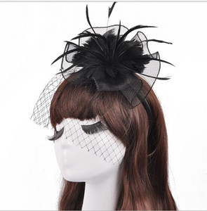 Wholesale 2019 Modern White Black Mesh Feathers Hats Banquet Stage Hair Trim Headband Hoop Bride Little Salute Head Flower