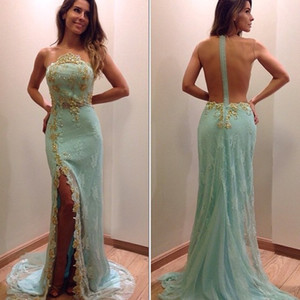 2018 Stunning Gold Lace Appliques Sleeveless Split Evening Prom Gowns Sheer Strapless Zipper Sheath Formal Gowns on Sale