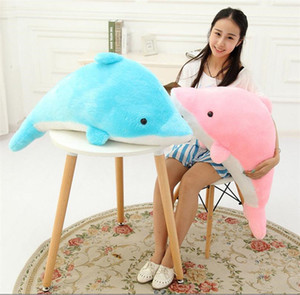 Wholesale Giant Dolphin Stuffed Animal Toy Plush Doll Gift Pink Blue Soft Cushion Pillow