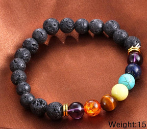 Hot Selling Unisex volcano Chakra Energy Bracelets Natural Lava Stone Bracelets 8mm Colorful Beads Bracelets Free Shipping