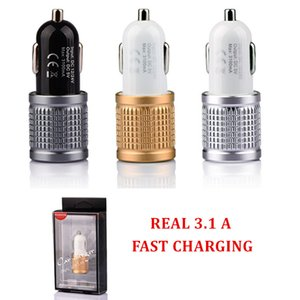 Top Quality Real Full 3.1A Metal Car Charger Dual Ports 2.1A+ 1A Output With Retail Package For IPAD And Phones Cradle