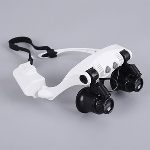 8 Lens 10X 15X 20X 25X Spectacles Eye Glasses LED Lamp Magnifier Loupe Jewellery Maintain Watch Repair Tool