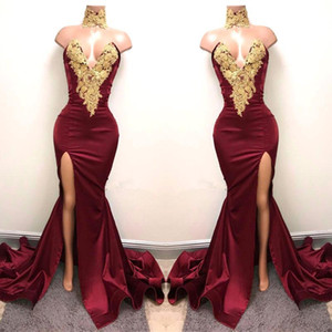 Wholesale 2019 New Sexy Arabic Burgundy Prom Dresses Evening Wear Gold Lace Appliqued Mermaid Front Split 2K19 Elegant Formal Party Gowns