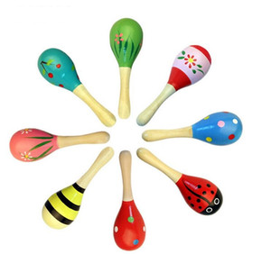 Wholesale wooden toys resale online - Hot Sale Baby Wooden Toy Rattle Baby cute Rattle toys Orff musical instruments Educational Toys mini baby Wooden hammer gift
