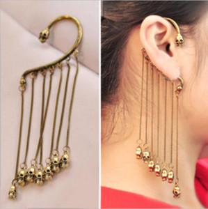 Fashion Rock Punk Gothic Skull Fringe Tassel Unisex Ear Cuff Earring Earhok Dangle Clip Earrings