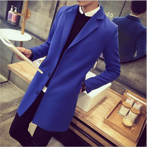 new trench men's fashion coat Turn-down collar long outwear overcoat manteau homme woolen overcoat