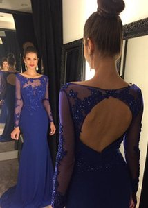 Wholesale 2019 Lace Appliques Formal Evening Dresses Long Sleeves Scoop Neckline Pageant Special Occasion Dress Floor Length Beaded Cheap Party Dress