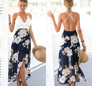 Wholesale 2017 Summer Bohemian Maxi Casual Dresses for Women Chiffon Flora Printed Ladies Holiday Clothes White Lace V neck Criss cross Backless Dress