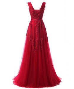 Burgundy Prom Gowns 2017 Vestidos Do Baile De Finalistas Sexy Deep V-Neck Cap Sleeve Evening Long Dresses on Sale