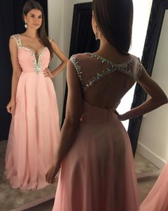 Wholesale Sexy Backless Pink Prom Dresses Long Women Strapless Beaded Evening Formal Dresses Chiffon vestido de festa curto