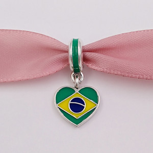925 Silver Beads Brazil Heart Flag With Enamel Fits European Pandora Style Bracelets Necklace for jewelry making 791911ENMX