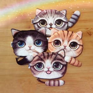 Wholesale 4 styles new cat coin purse ladies D printing cats dogs animal big face change fashion meow star people cartoon zipper bag for children
