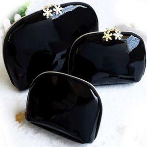 3pcs set Snowflakes Zipper Makeup Bag Fashion Cosmetics Holder Bright Japanned Leather Lipstick Clutch Bag Travel Toiletry Storage Bags