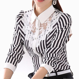 Women fashion Lace Blouse Long Sleeve Striped Mesh Top Turn-Down Collar Panelled Blouses Office Female Shirt Formal Blouse Plus Size