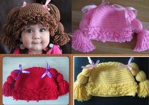 Handmade Crochet Baby Girl Wigs Cabbage Patch Pigtail Hat Newborn Infant Toddler Princess Curly Hair Knitted Cap Children Beanie 100% Cotton