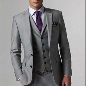 Wholesale mens light grey wedding suit for sale - Group buy Hot Sales Mens Suits Light Grey Side Vent Two Button Top Quality Mens Wedding Suits Three Pieces