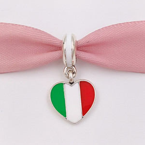 Wholesale 925 Silver Beads Italy Heart Flag Pendant Charm Fits European Pandora Style Jewelry Bracelets Necklace for jewelry making ENMX