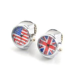 Drop Shipping 5 sets 10 Pcs 20mm US & UK Flag Stretched Finger Ring Watch, New Fashion Women Rings Beautiful & Exquisite Design Jewelry Gift
